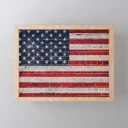 America flag on a brick wall Framed Mini Art Print