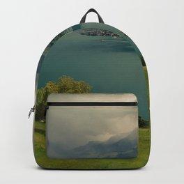 arising storm over lake lucerne Backpack