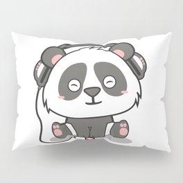 Chilling Panda Headphones Musik Cute Present Gift Pillow Sham