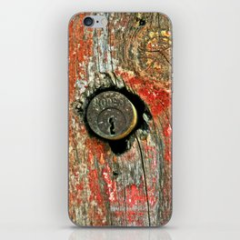 Weathered Wood Texture with Keyhole iPhone Skin