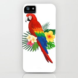 Tropical Macaw Floral Watercolor iPhone Case