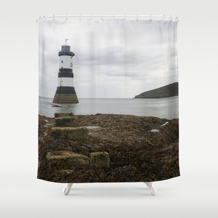 Trwyn Du Lighthouse Shower Curtain By Rawshutterbug