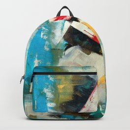 Reading a book: Abstract Acrylic Painting with a red highlight Backpack