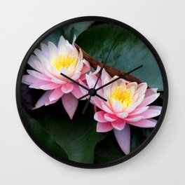 Ombre Water Lily Duo Wall Clock