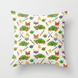 Teenage Mutant Corgi - corgis, dog, dogs, cosplay, halloween, halloween costume, comic, cute, dog, d Throw Pillow