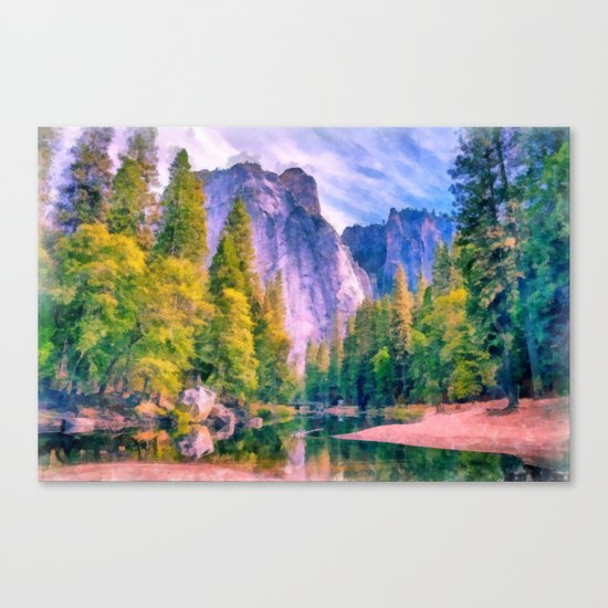 Mountain landscape with forest and river Canvas Print