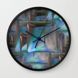 Mirrored Metallic Tile Blue Patina Wall Clock