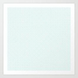 Aqua Blue Candy Polkadot Hearts Art Print