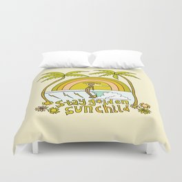 stay golden sun child //retro surf art by surfy birdy Duvet Cover