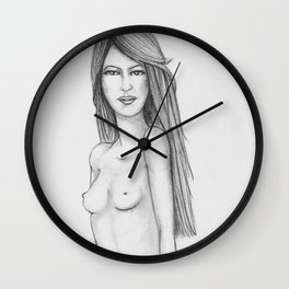 A Girl Looking at Herself Wall Clock