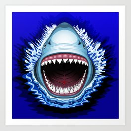 Shark Jaws Attack Art Print