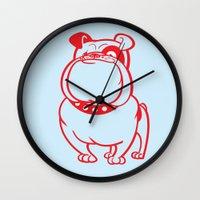 bulldog Wall Clocks featuring Bulldog by drawgood