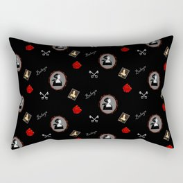 Anne Boleyn red on black roses keys Rectangular Pillow