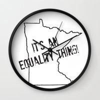 minnesota Wall Clocks featuring Minnesota Equality by The Happy Taurus