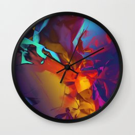New Dream. Blue, Yellow and Red Abstract. Wall Clock