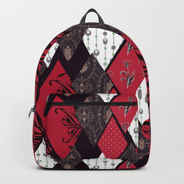Black-red patchwork . Backpack