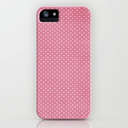 Vintage girly pink white hipster cute polka dots pattern iPhone Case
