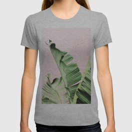 Banana Leaf on pink T-shirt