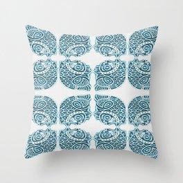 Bluefish Fish India Block Print Boho Throw Pillow