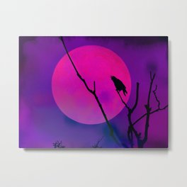The Crow And The Pink Moon Metal Print