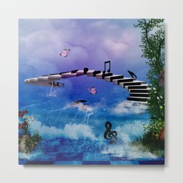 Music, piano with birds and butterflies Metal Print