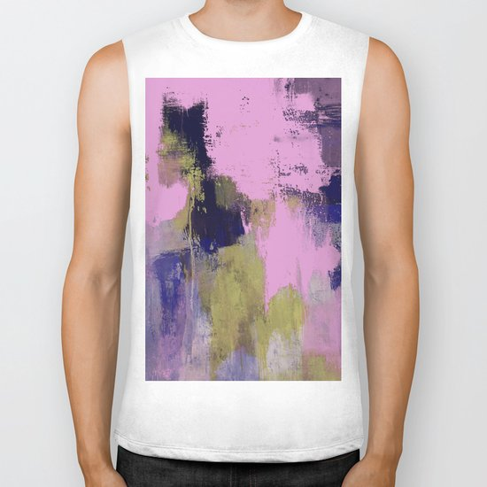 Wild Lilac - Abstract, textured, lilac, purple, blue and yellow oil painted artwork Biker Tank