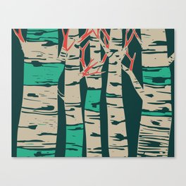 Whimsical birch forest landscape wall art Canvas Print