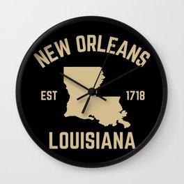 New Orleans Louisiana Map Established 1718 NOLA Wall Clock
