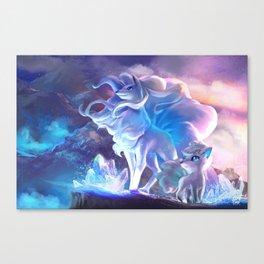 Alolan Ninetales  and Vulpix Canvas Print