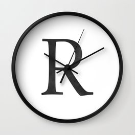 Letter R Initial Monogram Black and White Wall Clock