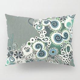 Diagonal flower – blue and green fiber Pillow Sham
