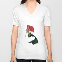 mermaid V-neck T-shirts featuring mermaid by ArtSchool