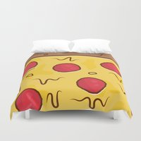 pizza Duvet Covers featuring Pizza by Michael Walchalk