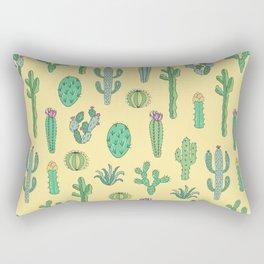 Cactus Pattern Yellow Rectangular Pillow