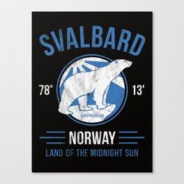 Svalbard Arctic Polar Bear - Midnight Sun in Longyearbyen Norway Canvas Print