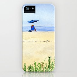 Assateague Island Watercolor Beach Painting iPhone Case
