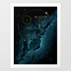 Voyager and the Golden Record - Space | Science | Sagan Art Print