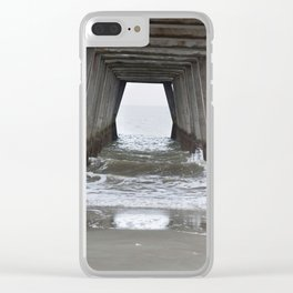Under the fishing pier with waves Clear iPhone Case