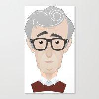 woody allen Canvas Prints featuring Woody Allen by Alexander Kuzmin