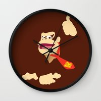 donkey kong Wall Clocks featuring Donkey Kong - Minimalist - Nintendo by Adrian Mentus