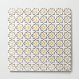 portuguese pattern yellow gray 01 Metal Print