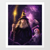 merlin Art Prints featuring Merlin by EnchantedWhispers