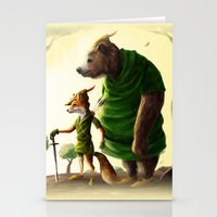 robin hood Stationery Cards featuring Robin Hood & Little John by Jehzbell Black