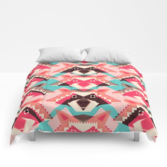 Raccoons and hearts Comforters