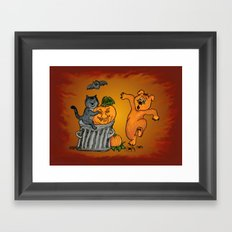 Cat, Bat, Dog and Spider, Happy Halloween! Framed Art Print