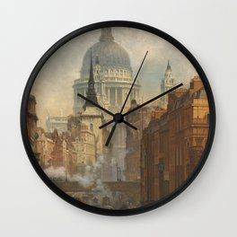 London skyline, view of St Paul's Cathedral and Fleet Street, illustration from Victorian era Wall Clock