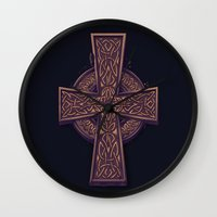 celtic Wall Clocks featuring Celtic Cross by pakowacz