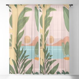 Moroccan Coast - Tropical Sunset Scene Sheer Curtain