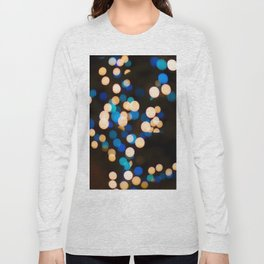 Blue Orange Yellow Bokeh Blurred Lights Shimmer Shiny Dots Spots Circles Out Of Focus Long Sleeve T-shirt