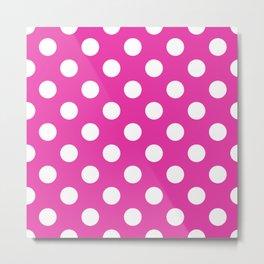 Frostbite - pink - White Polka Dots - Pois Pattern Metal Print